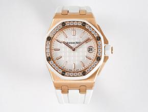 爱彼复刻手表皇家橡树离岸系列37mm女装白盘橡胶带石英手表