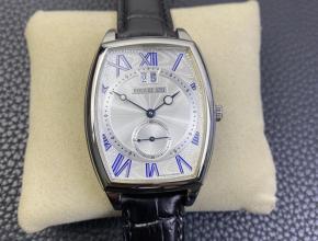 HG复刻手表宝玑男款白盘黑带传承系列大日历自动机械皮带手表