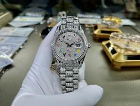复刻手表劳力士男装白盘钢带日志款41mm真金真钻手表