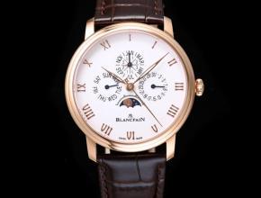 复刻手表宝珀经典系列6656男款白盘棕带自动机械皮带手表