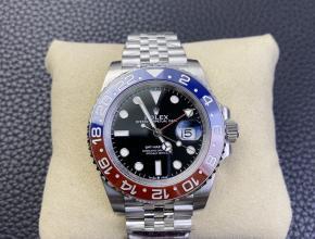新品复刻手表劳力士格林尼治红蓝配色  五珠带 可乐圈自动机械钢带男款手表