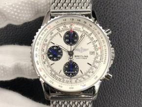 百年灵复刻表男款白盘钢带经典航空计时A13322计时手表