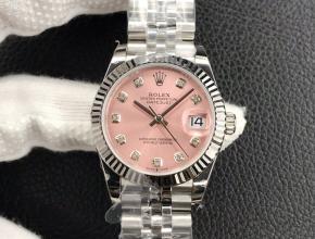 劳力士 女款 复刻手表日志型 粉盘钢带31MM机械手表