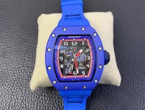 复刻手表理查德米勒RM030男士黑盘蓝橡胶带自动机械手表