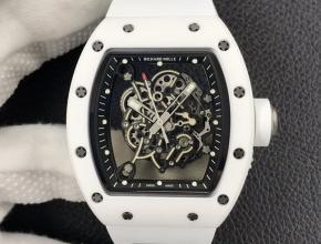 """ZF复刻手表理查德米勒 RM055""""网红爆款""""男士黑盘白橡胶带白陶瓷系列机械手表"""