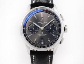 GF百年灵复刻手表v2升级版自动机械男装黑盘黑皮带手表