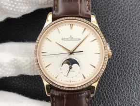 GF积家复刻手表男款白盘棕带大师系列皮带机械手表