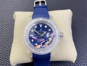 复刻手表劳力士男款蓝盘橡胶带自动机械手表