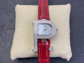 复刻手表伯爵女士白盘红带石英皮带手表