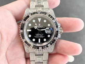 劳力士复刻手表男款黑盘钢带全自动机械潜航者型手表