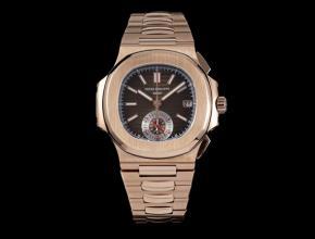 3K厂百达翡丽复刻手表男款黑盘钢带鹦鹉螺多功能计时手表