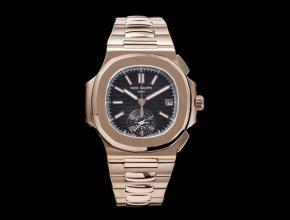 百达翡丽复刻手表多功能计时男士黑盘钢带鹦鹉螺系列手表