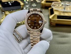 复刻手表劳力士女款灰盘金带18k玫瑰金真金真钻手表