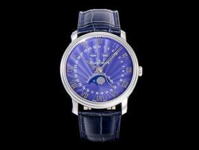 OM复刻手表宝珀自动机械男款蓝盘蓝带villeret 经典皮带手表
