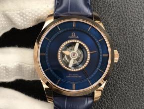 复刻欧米茄男款蓝盘蓝带碟飞系列自动机械陀飞轮手表