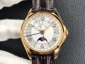 ZF复刻手表江诗丹顿男士白盘棕带伍陆之型系列全日历月相手表