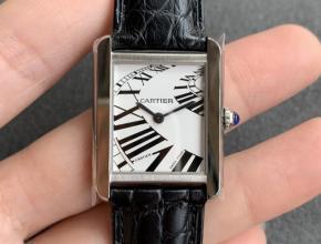 K11厂复刻手表卡地亚女装白盘黑带坦克系列皮带手表