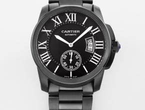 卡地亚复刻手表男装自动机械卡利博系列黑盘钢带手表