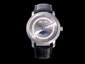 OM宝珀复刻手表全新V3升级villeret 经典6654男款灰盘黑带手表