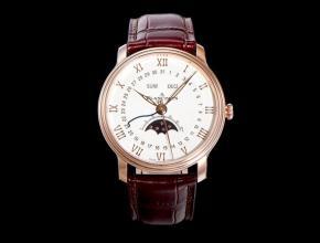 OM复刻手表宝珀男款白盘棕带villeret 经典6654皮带手表