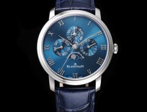 宝珀复刻手表男款蓝盘经典系列6656自动机械皮带手表