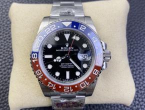 劳力士复刻手表男士黑盘钢带格林尼治型自动机械手表 三珠带