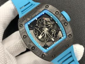 ZF复刻手表理查德米勒全球限量男款黑盘蓝橡胶带机械手表