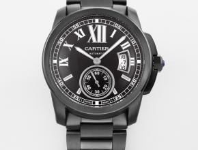 复刻手表卡地亚男士黑盘钢带卡历博系列自动机械手表
