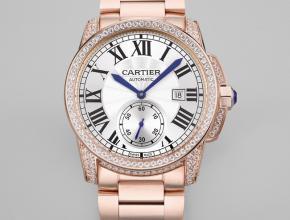 复刻手表卡地亚卡利博系列男款白盘粉钢带自动机械手表