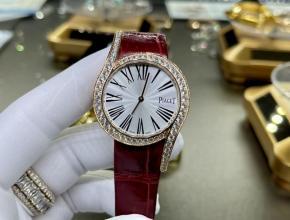 复刻手表伯爵女款白盘红带69爆款真金真钻皮带手表