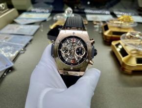 复刻手表宇舶(恒宝)男士灰盘黑橡胶带真金真钻手表