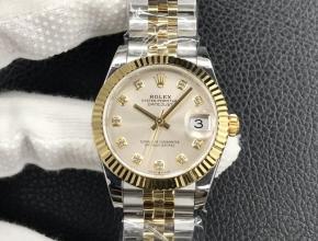 复刻手表劳力士 女士 日志型 31MM白盘间金带机械手表