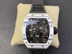 JB复刻手表理查德米勒骷髅头真陀飞轮自动机械男款黑盘橡胶带手表