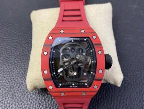 JB理查德米勒复刻手表RM52-01真陀飞轮男士黑盘红橡胶带骷髅头机械手表