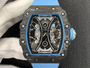 JB理查德米勒复刻手表自动机械真陀飞轮男款黑盘蓝橡胶带手表