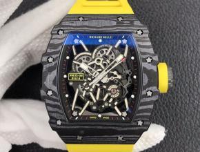 ZF理查德米勒复刻手表自动机械男装黑盘黄橡胶带手表