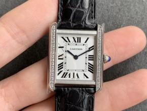 K11厂复刻手表卡地亚女款白盘黑带坦克系列皮带手表