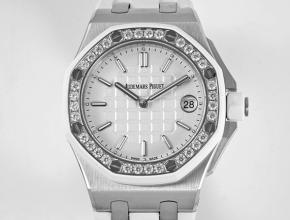 复刻手表爱彼女士白盘橡胶带石英皇家橡树离系列37mm手表