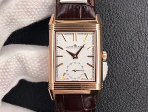 MG积家复刻手表男装白盘棕带翻转系列自动手动机械皮带手表