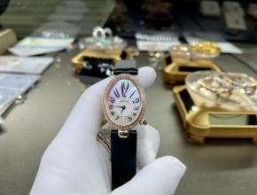 宝玑复刻手表女款白盘黑带那不勒斯王后系列真金真钻皮带手表