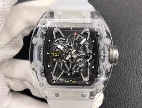 复刻手表理查德米勒RM055玻璃透明系列男款黑盘橡胶带手表