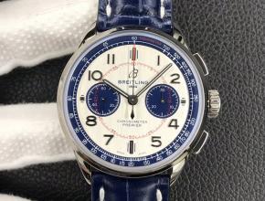 GF复刻手表新作百灵璞雅B01计时腕表42mm男款白盘蓝带机械皮带手表