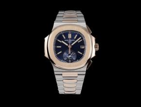 3K厂百达翡丽复刻手表男款蓝盘间金带鹦鹉螺系列多功能计时手表