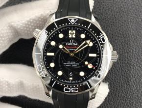 OR欧米茄海马300自动机械男款黑盘橡胶带手表