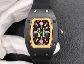 理查德米勒复刻手表女士黑盘黑橡胶带bon bon系列机械手表