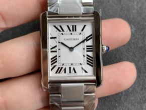 K11厂复刻手表卡地亚坦克系列女款白盘钢带自动机械手表