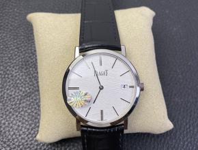 MKS复刻手表伯爵男款白盘黑带至臻超薄系列皮带手表