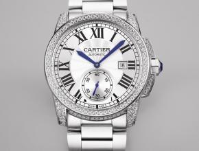 复刻手表卡地亚自动机械男士白盘钢带 卡利博系列手表