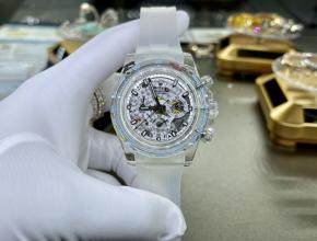 复刻手表劳力士男款白盘白橡胶带真金真钻手表