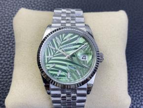 2021复刻手表劳力士日志系列36mm新款 橄榄绿色 丛林棕榈叶图案盘手表
